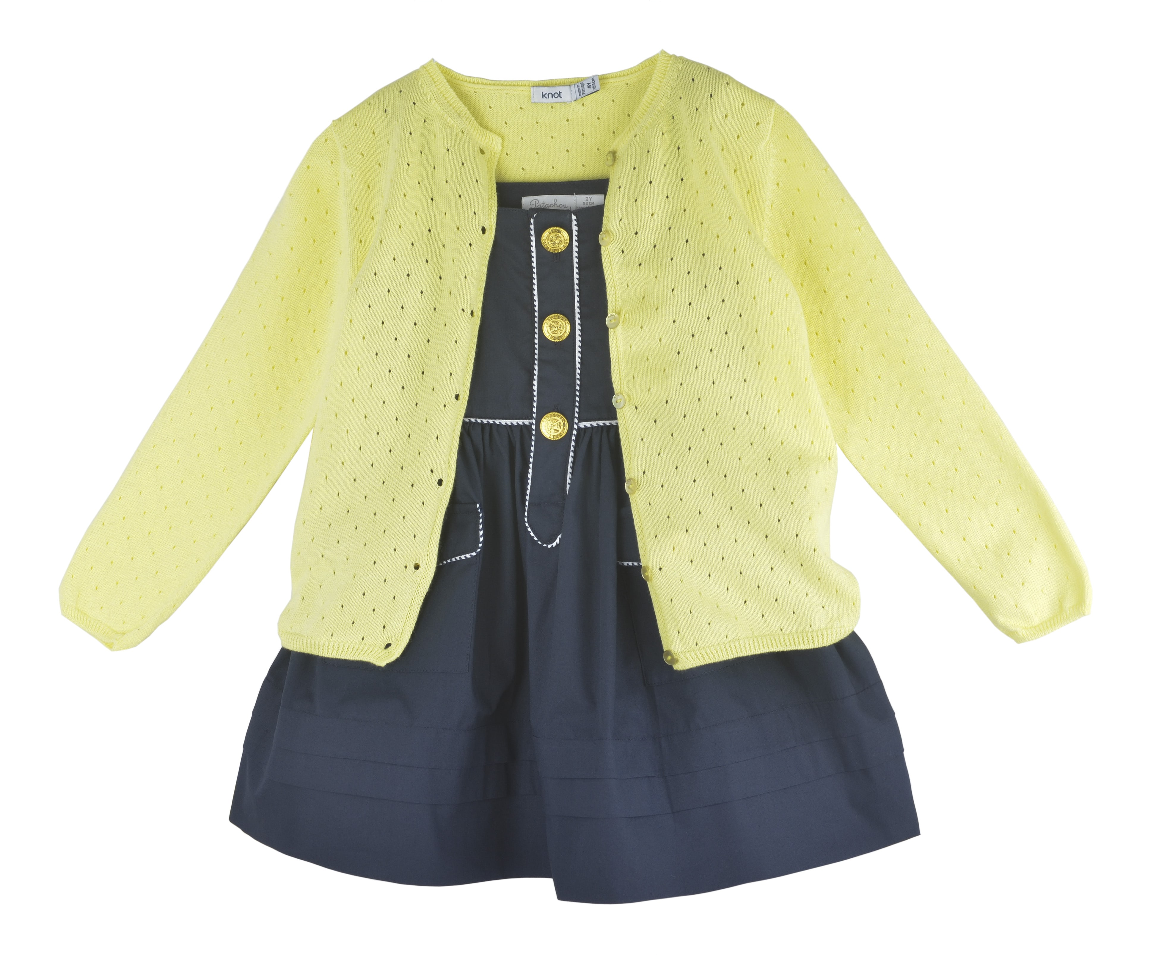 Girls Yellow Cotton Cardigan
