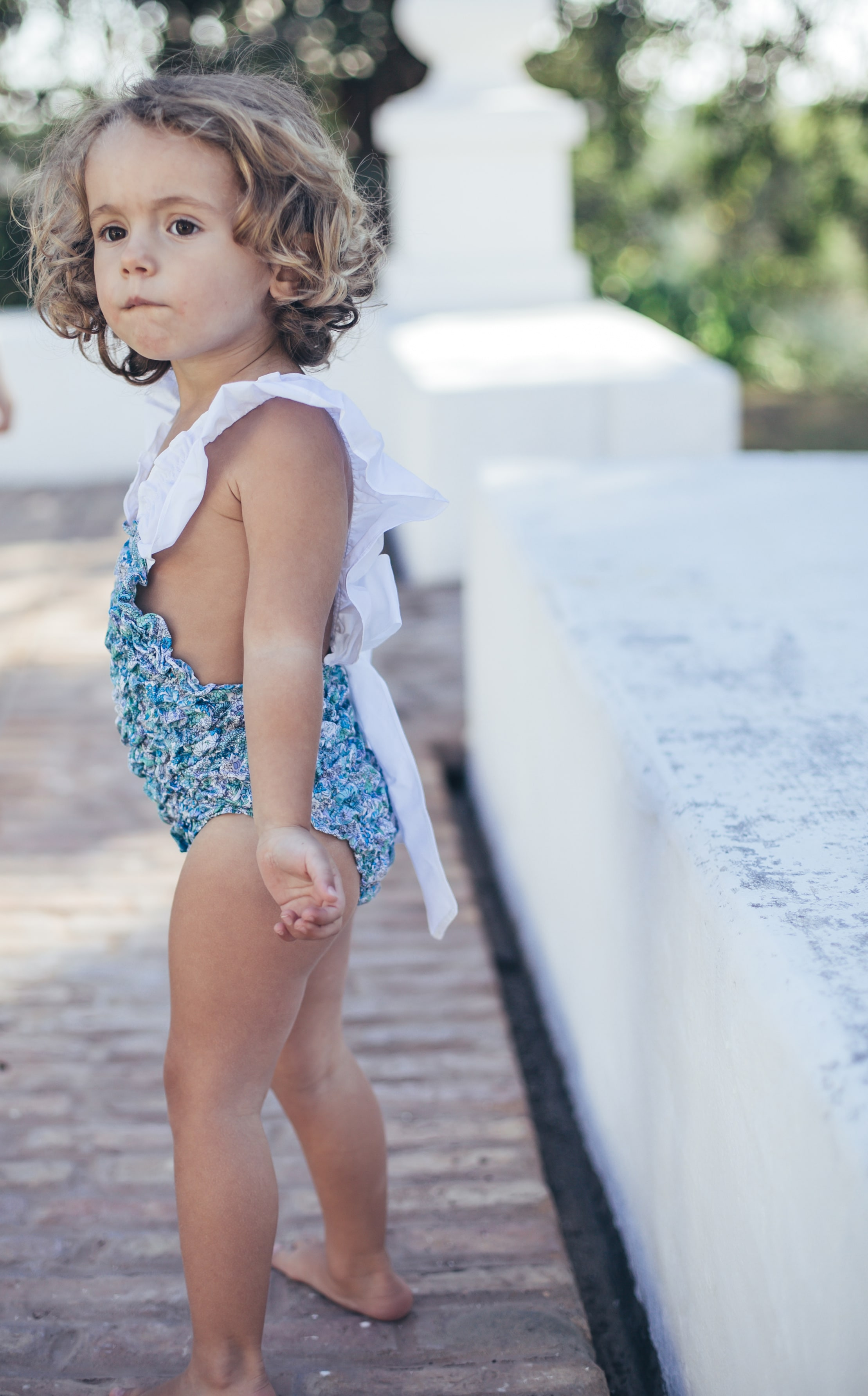 Baby Girls Blue flowers Swimsuit by Dot Baby